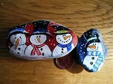 Steine Bemalen Basteln Ideen Weihnachten Schneemanner