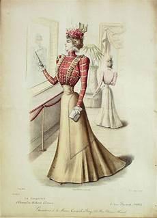 gravure de mode ancienne 2670 1898 le coquet 26x36cm