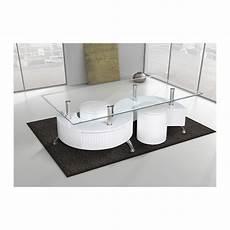 Table De Salon En Verre Avec 2 Poufs Blanc Comforium