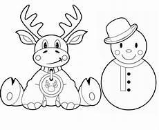 kostenlose malvorlage weihnachten rentier und schneemann