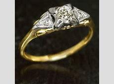 1930s ESTATE DIAMOND GOLD 14K 18K BLUEBIRD MARKED VINTAGE