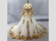 Gorgeous White Muslim Wedding Dresses With Gold lace