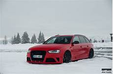 stanced snow plow lowered audi s4 avant fitted with black rotiforms carid com gallery