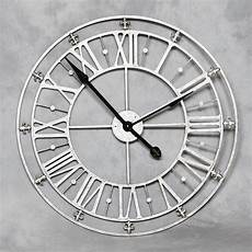 large numerals silver metal iron wall clock