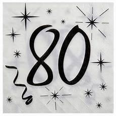 servietten 80 geburtstag serviettes papier pour anniversaire 80 ans pas cheres