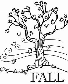 fall printable coloring page with tree and leaves falling