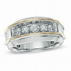 men s 1 ct t w diamond five stone band in 10k two tone gold wedding bands wedding zales