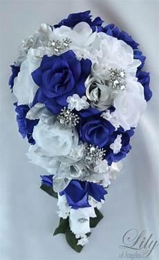 17 piece package silk flower wedding bridal cascade