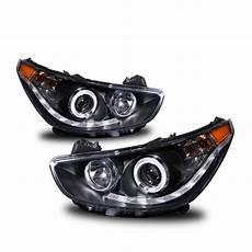 hyundai accent 2012 headlight bulb 2012 2013 hyundai accent eye halo led drl projector headlights black