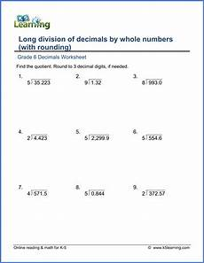grade 6 math worksheet decimals division of decimals by whole numbers with rounding
