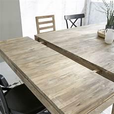 table en bois de teck recycl 233 carr 233 e rallonges 12