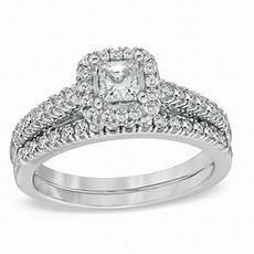 1 00 ct t w princess cut diamond frame bridal set in 14k