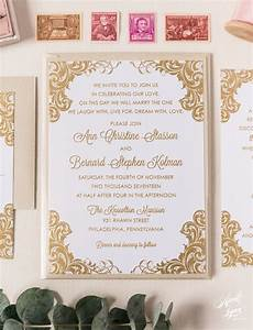 thermography wedding invitations affordable bernard s gold thermography wedding invitation suite