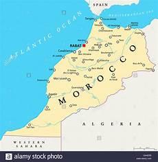 hauptstadt marokko marokko landkarte mit hauptstadt rabat landesgrenzen