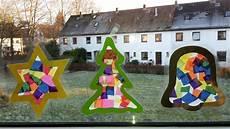 weihnachten fensterbilder aus transparentpapier der