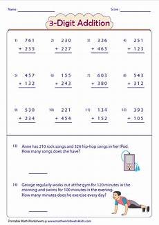 addition subtraction worksheets 3 digit 10001 3 digit addition worksheets