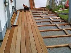 bankirai terrasse bauen unterkonstruktion bangkiraiterrasse
