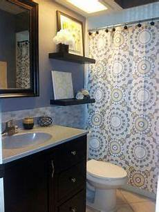 yellow and grey bathroom decorating ideas yellow grey white shower curtain blue walls
