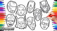 the avengers coloring pages how to draw all avengers character faces iron thor hulk america