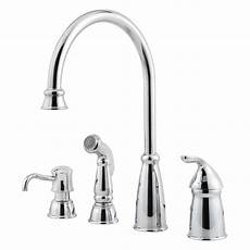 pfister faucets kitchen pfister avalon single handle high arc standard kitchen faucet with side sprayer in polished
