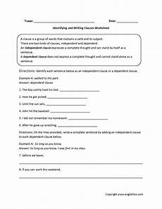 identifying and writing clauses worksheet with images