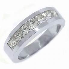 mens 2 38 carat princess square cut diamond ring wedding band 14kt white gold ebay