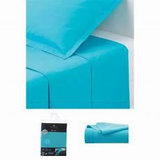 Drap Plat 1 Personne 180x290 Cm 100 Coton Turquoise