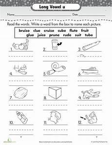 long vowel u worksheet for pre k 2nd grade lesson planet