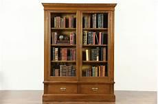 sold oak 1900 bookcase glass doors adjustable shelves harp gallery