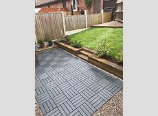 Ikea runnen decking tiles used to create a new garden