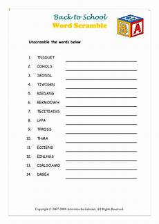back to school word scramble worksheet for 3rd grade