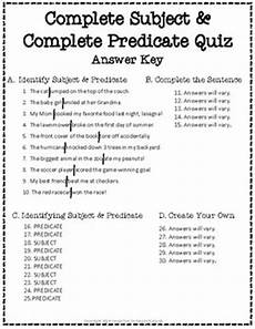 subject and predicate test 2 page complete subject and complete predicate quiz