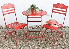 sitzgruppe tisch mit 2 st 252 hle set aus metall rot
