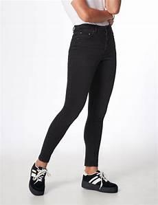 jean taille haute boutonn 233 noir femme jennyfer