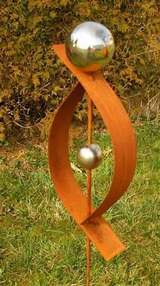 gartendeko rost skulptur 120 cm mit edelstahlkugel garten