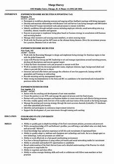 experienced recruiter resume sles velvet