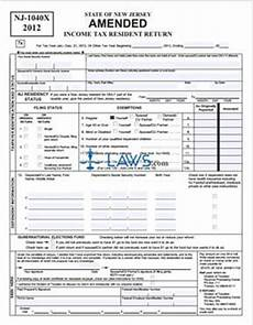 form nj 1040x new jersey amended income tax resident return tax forms laws com
