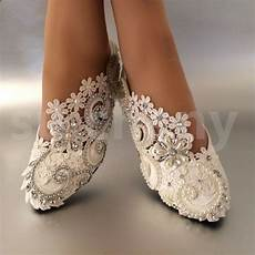 Bridal Shoes Flat white ivory pearls lace wedding shoes flat
