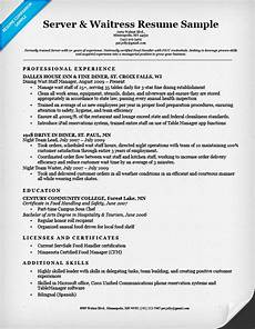server waitress resume sle resume companion