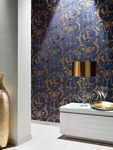 tapeten blau as 956914 mustertapete perlen ornament fragil blau gold as