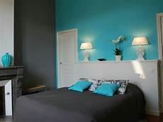 mur turquoise gris turquoise chambre chambre parentale