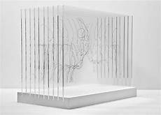 transparent sculptures by mario david fischer using screen printed acrylic layers and building