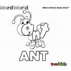 preschool word world colouring printable colour the word quot ant quot tvokids wordworld language
