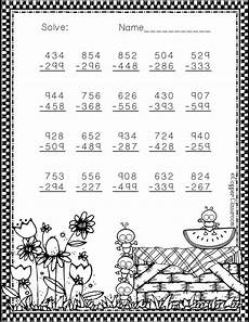 subtraction with regrouping worksheets summer 10707 3 nbt 2 summer themed 3 digit subtraction with regrouping math resources math practices