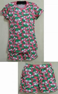 jual baju tidur setelan baby doll lengan pendek motif kero keropi yuphoria shop