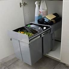 poubelle de meuble coloris gris 2 bacs 20l cooke lewis