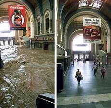 hochwasser 2002 als ein sturzbach durch dresdens bahnhof