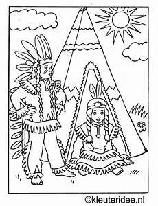 kleurplaat indianen bij tipi kleuteridee nl jpg met