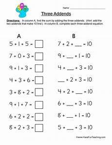 grade math worksheet adding 3 numbers three addends worksheet 1