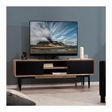meuble tv industriel noir et bois pour votre salon design